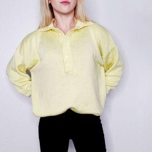 Vintage 80-90s Henley Popover Neon Yellow Sweater